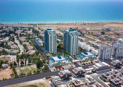 Oversikt Royal Life med Middelhavet og Long Beach i bakgrunnen