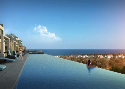 Pine Valley Infinity utsikt mot Middelhavet fra pool