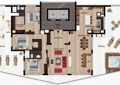 Penthouse gulvplan