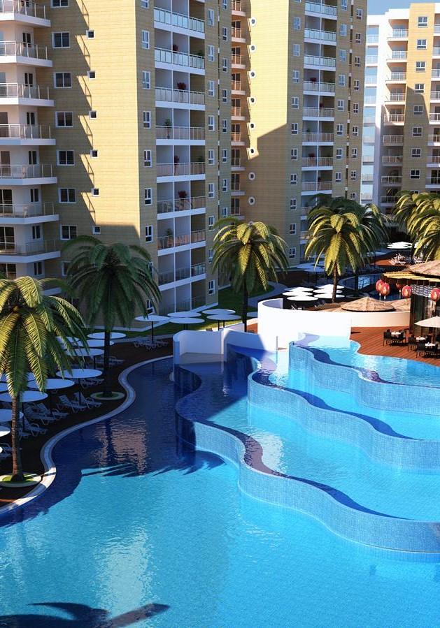 Caesar Resort, Iskele, Middelhavet, feriebolig, strand, sol, Long Beach, pool, basseng, restaurant, vannsklie, bar, restaurant