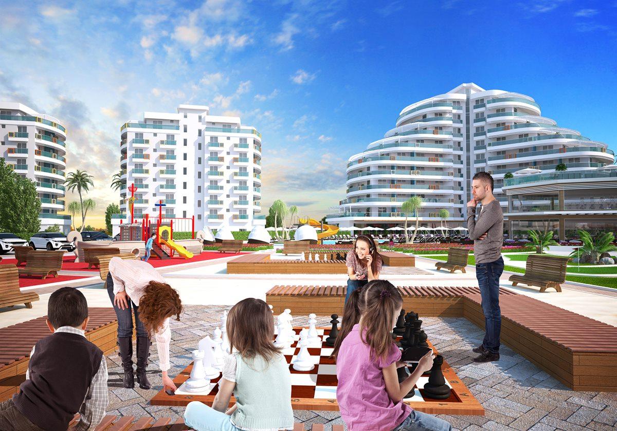 Park Residence, Iskele, Middelhavet, feriebolig, strand, sol, Long Beach, pool, basseng, restaurant, vannsklie
