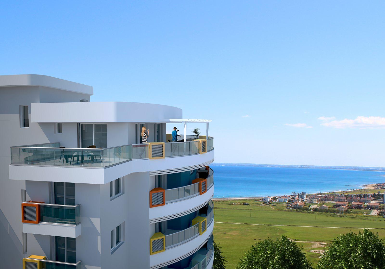 Park Residence, Iskele, Middelhavet, feriebolig, strand, sol, Long Beach, pool, basseng, restaurant, vannsklie, utsikt