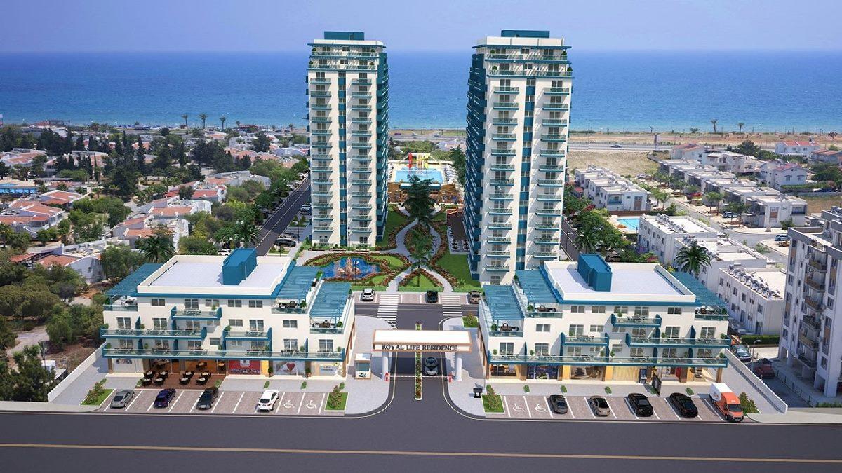 Royal Life Residence, Iskele, Middelhavet, feriebolig, strand, sol, Long Beach, pool, basseng, restaurant, vannsklie