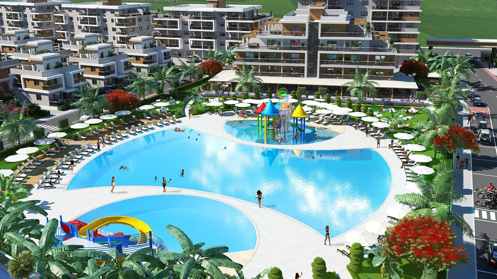 Royal Sun Elite, Iskele, Middelhavet, feriebolig, strand, sol, Long Beach, pool, basseng, restaurant, vannsklie